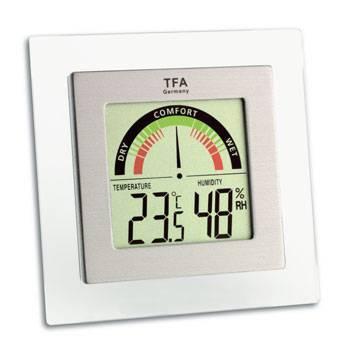 TFA vierkante thermo en hygrometer met comfortschaal. zilveren lijst in een witte lijst,