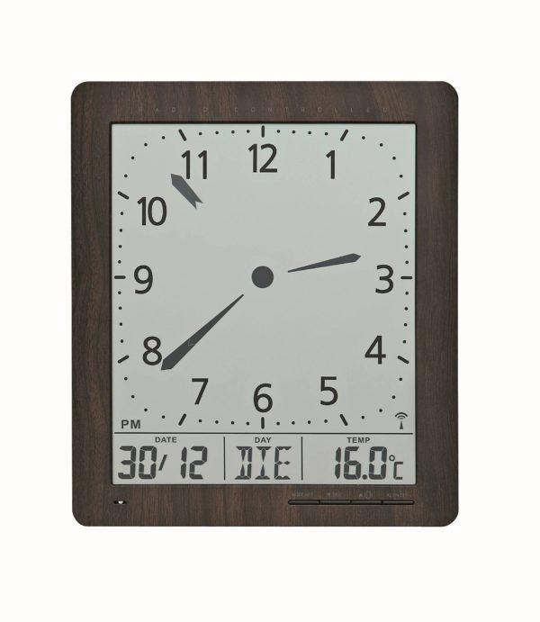 digitale klok met donker houtpatroon als lijst. details zijn zwart. met datum, dag en temperatuur.