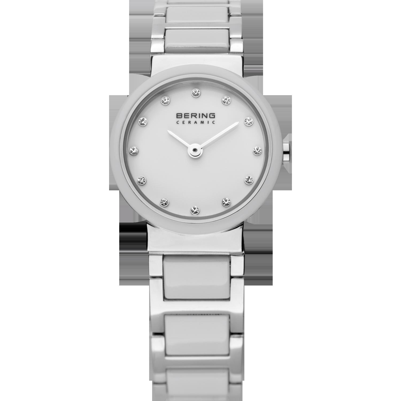 zilveren bering ceramic horloge met witte wijzerplaat en swarovski kristallen als cijfers.
