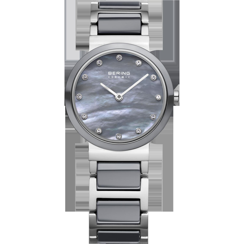 zilveren bering ceramic horloge met paarlemoeren wijzerplaat en swarovski kristallen als cijfers.