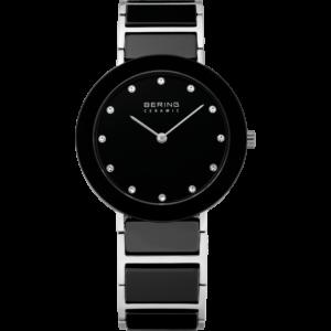 Zwart bering ceramic horloge met zilverzwart bandje, zilveren wijzers en swarovski kristallen als cijfers