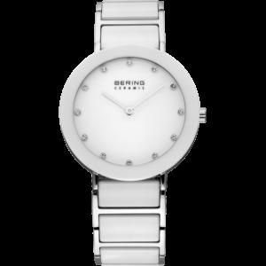 witzilveren bering ceramic horloge met witte wijzerplaat en zwarovski kristallen als cijferaanduiding.