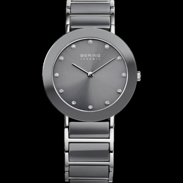 Grijs en zilver bering ceramic horloge, grijs. met swarovski kristallen als cijferaanduiding.