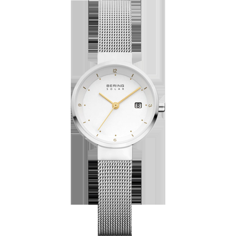 zilveren bering solar horloge met witte wijzerplaat en gele details en zilveren gevlochten bandje.