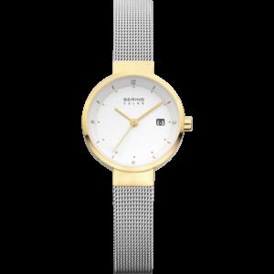Bering solar horloge met goudkleurige lijst, witte wijzerplaat en zilverkleurig gevlochten bandje.