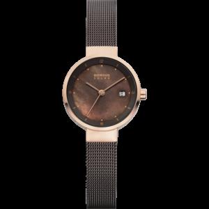 Solar bering goudkleurig en zwart horloge met bruin paarlemoeren wijzerplaat en gevlochten bandje