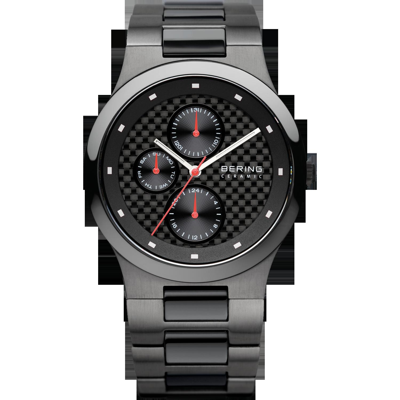vooraanzzicht bering horloge donkergrijs met een vierkant patroon op de wijzerplaat, witte wijzers en cijferblokjes. met dag, datum en 24uurs aanwijzing in kleine wijzerplaatjes,