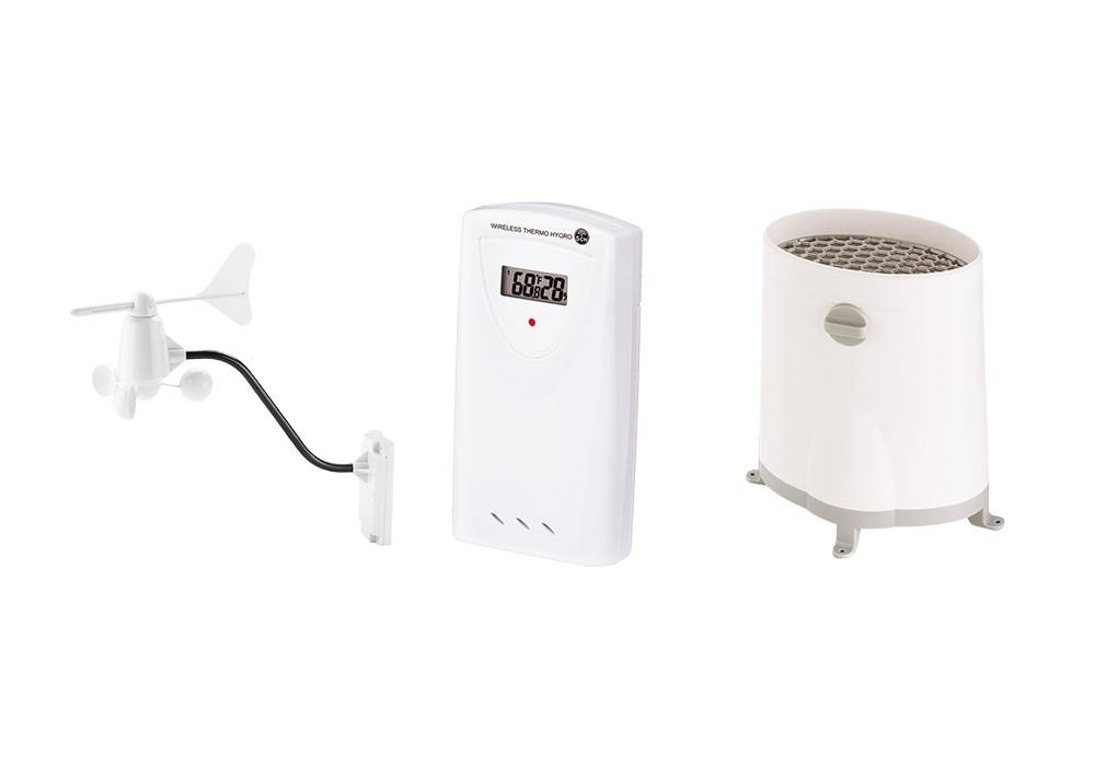 Windsensor, temperatuursensor en regenmeter.