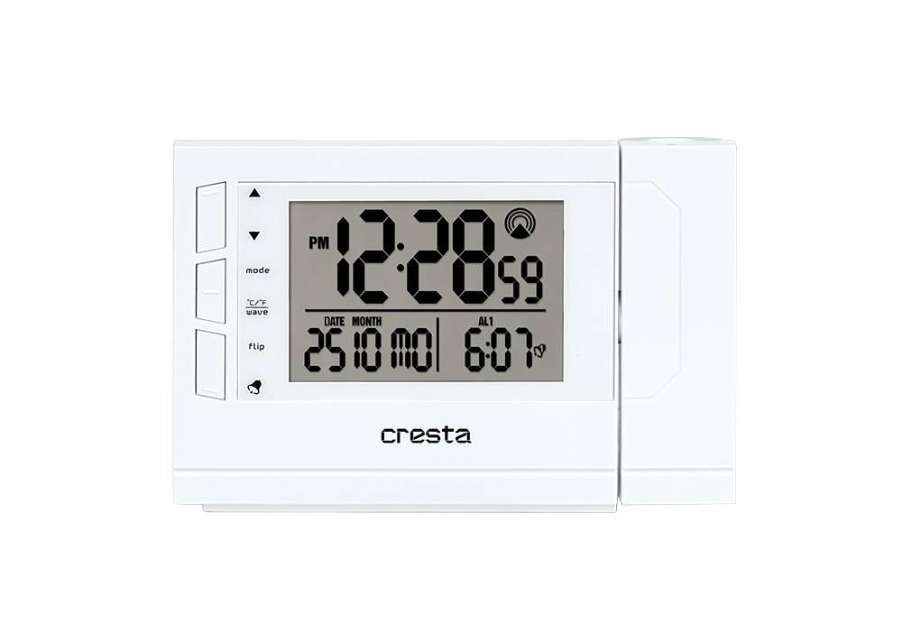 Witte digitale wekker met projectie. het beeldscherm laat de tijd, datum en alarm zien. knoppen voor plus en min, mode, celsius of fahrenheit, flip en alarm.