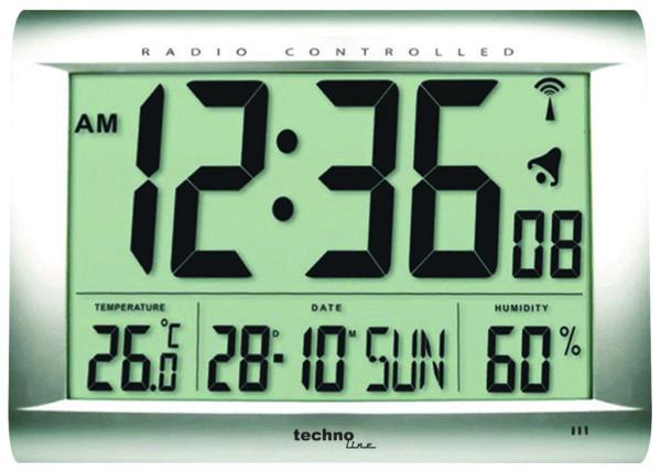 vooraanzicht zilveren digitale klok
