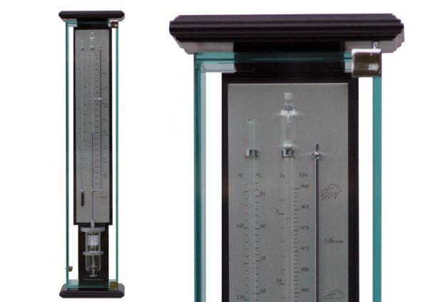 detailfoto bovenkant contra barometer innovacelli met nootkleur hout, zilveren plaat en glazen kast
