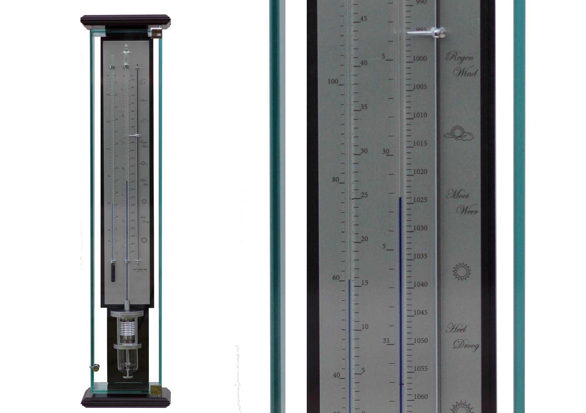 middenstuk contrabarometer met bar en thermometer.