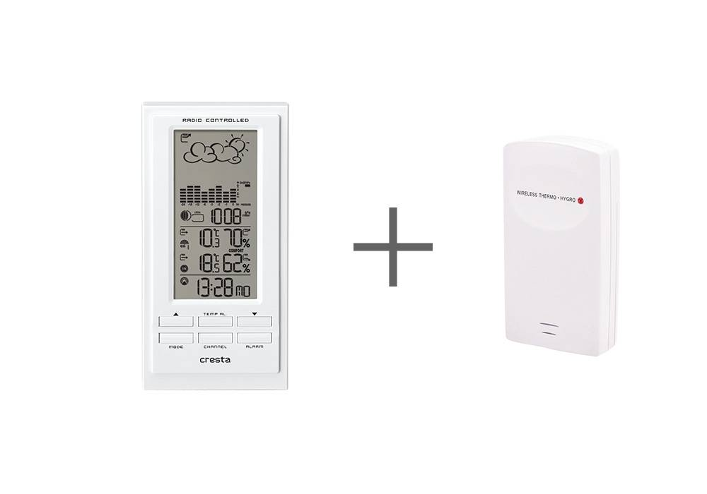 Wit weerstation cresta met wireless thermo en hygrometer station.