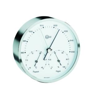 Strak Barigo design barometer met hygrometer en thermometer display. Rond met zilveren lijst, witte achtergrond en zwarte details.