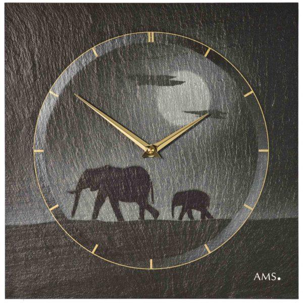 Grijze leisteen klok met silhouet van olifanten en gouden details