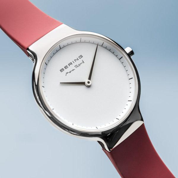 Max rene dameshorlogemet zilveren uurwerk en rood siliconen bandje.