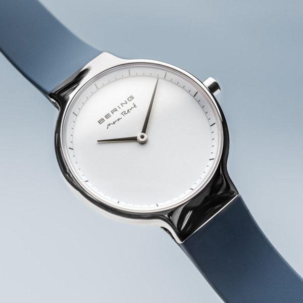 max rene dameshorloge vooraanzicht zilver uurwerk met blauwe bandjes