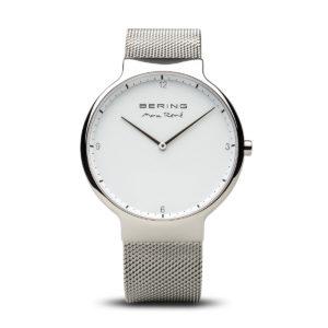Vooraanzicht van zilveren herenhorloge van max rene met witte wijzerplaat.