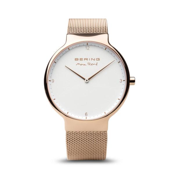vooranzicht compleet gouden herenhorloge max rene met witte wijzerplaat.