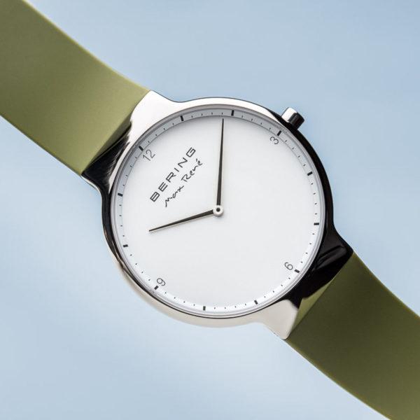 Max rene herenhorloge zilveren uurwerk en groen siliconen bandje.