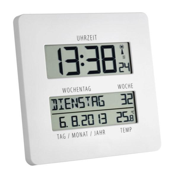 Witte timeline radiocontrolled klok met temperatuursaanduiding.
