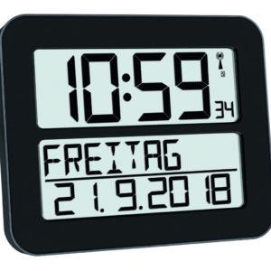 Zwarte timeline Max klok met uitgeschreven datum.