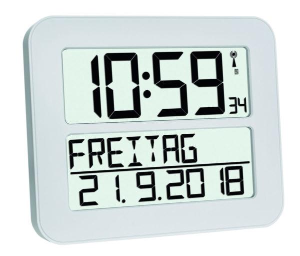 Witte timeline max klok met uitgeschreven datum.