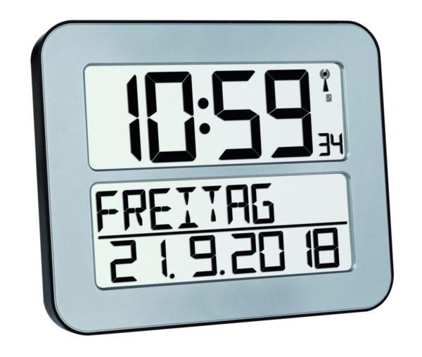 grijze timeline max radiocontrolled klok met datum.