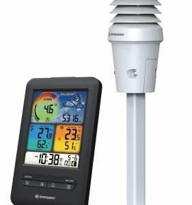 Bresser WIFI 4-in-1 UV Colour Weather Center met zwarte basisstation met alle informatie en 4-in-1 witte sensor afgebeeld