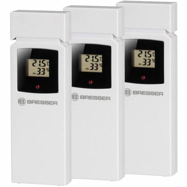 Bresser Thermo-Hygrometer Quadro NLX losse witte sensoren met zwartgekaderd beeldschermpje met daarop de temperatuur en luchtvochtigheid.