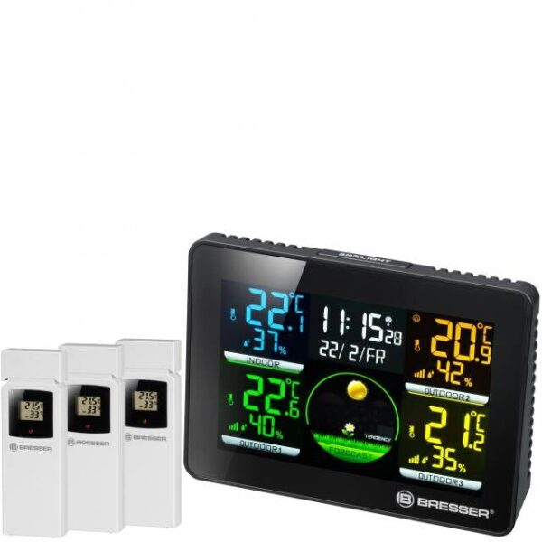 Bresser Thermo-Hygrometer Quadro NLX basisstation met daarop de metingen afgebeeld van de 3 sensoren die ernaast staan afgebeeld.