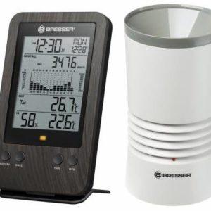 Bresser WTW Professionele Regenmeter met houtlook en de metingen en regenhistorie met daarnaast de regenmeter (wit) afgebeeld.