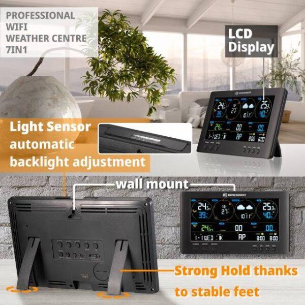 Professioneel Bresser wifi Clearview weerstation Bresser Clearview met berschrijving van het LCD kleuren displayen lichtsensor die automatisch de helderheid aanpast en muurbevestiging en stevige pootjes.
