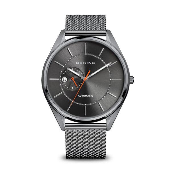 Vooraanzicht Bering Automatc Horloge donkergrijs gepolijst strap/bandje en lijst/bezel met zwart glanzende wijzerplaat. rode secondewijzer.