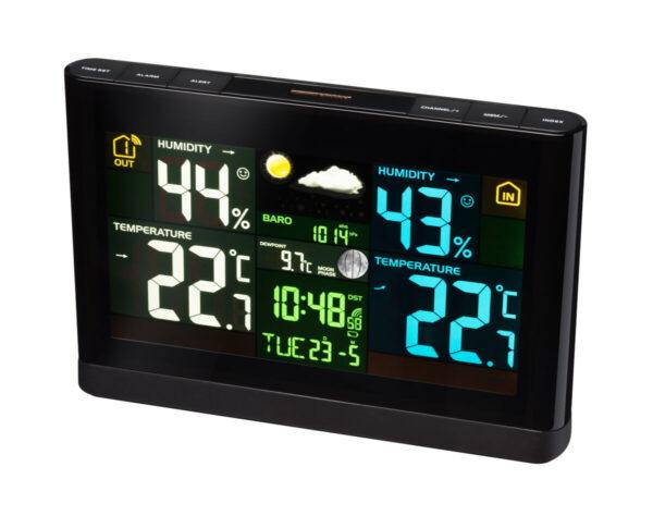 Bresser weerstation met zwart kleurendisplay waarop de luchtvochtigheid van binnen en buiten staat afgebeeld. Ook de datum, weekdag, tijd en binnentemperatuur en buitentemperatuur staan afgebeeld.