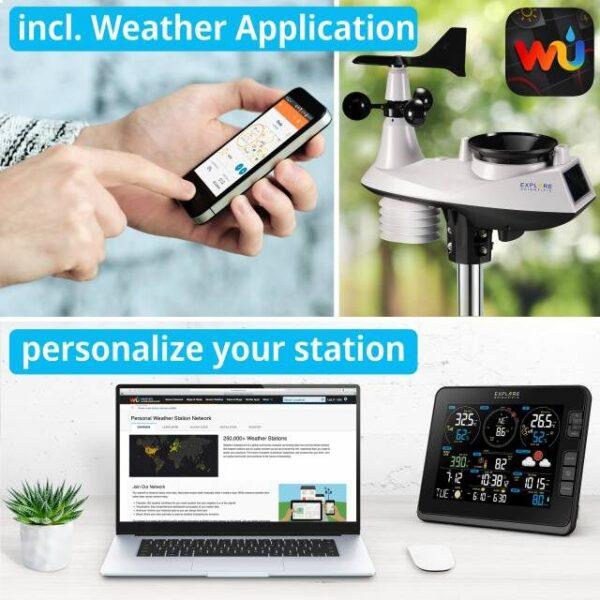 Met app, er staat een telefoon, een logo van de Weather Underground app, en laptop en het basisstation afgebeeld. Personaliseer uw station.