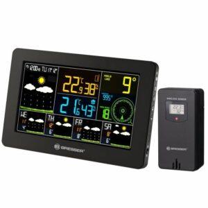 Bresser WLAN 4CAST Wireless voorkant, zwart weerstation met zwarte sensor. et luchtvochtigheid, gevoelstemperatuur, voorspelling, etc afgebeeld op het scherm in verschillende kleuren