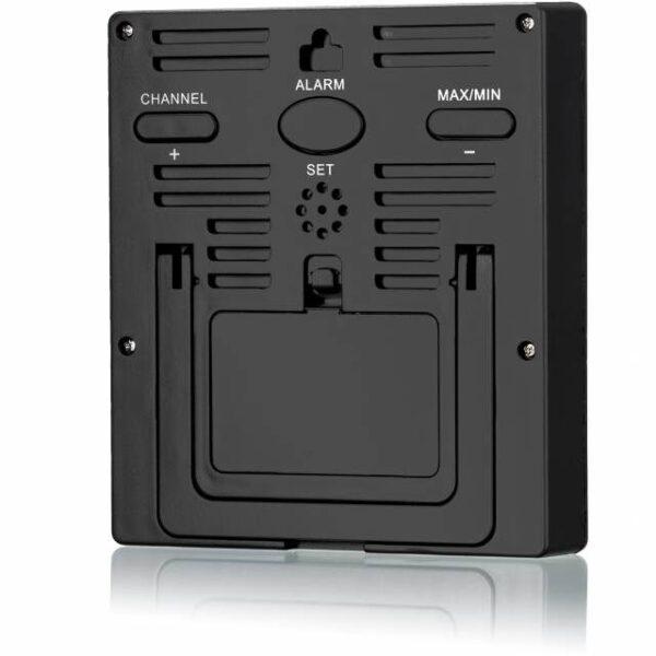 BRESSER Temeo Hygro Quadro - Thermometer en Hygrometer achterkant zwart met channel, alarm,set, maximum knoppen. mett ophangsysteem en batterij.