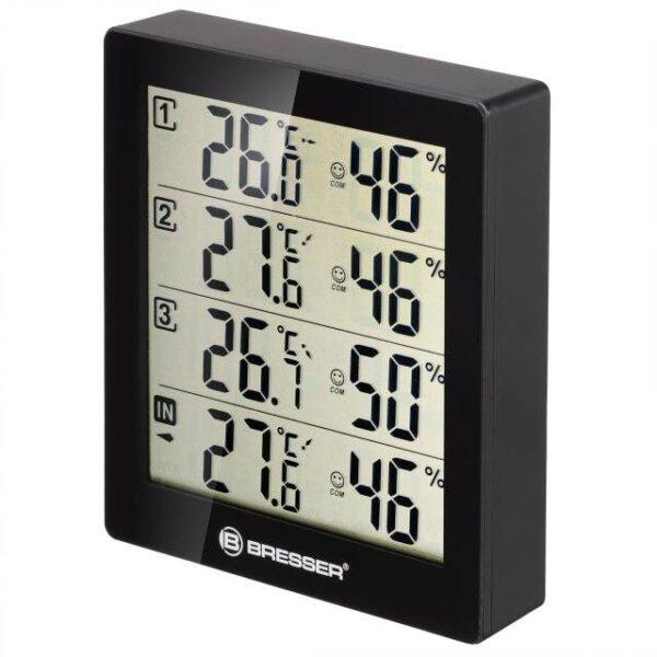 BRESSER Temeo Hygro Quadro - Thermometer en Hygrometer detailfoto van voorkant met alle waarden erop afgebeeld