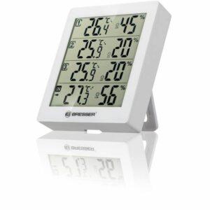 BRESSER Temeo Hygro Quadro - Thermometer en Hygrometer voorkant met luchtvochtigheid en temperatuur afgebeeld. de witte variant