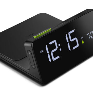 Braun BC21B Wireless Charging Clock zijaanzicht zwarte digital wekker met wireless phone charging en groene details.